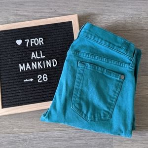 7 FOR ALL MANKIND / TEAL ROXANNE SKINNY JEANS
